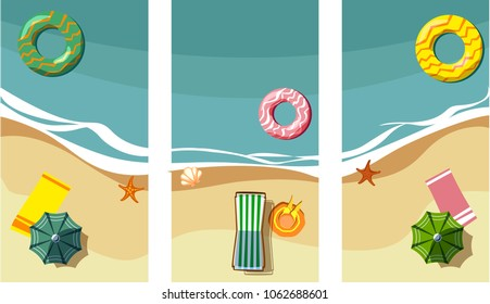 Three holidays backgrounds with sea coast and chaise-longues. Vector top view summer illustration.