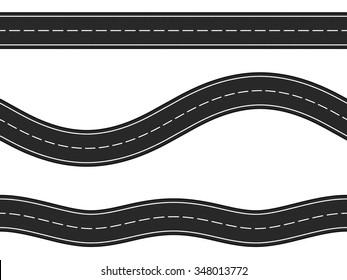 Three horizontal asphalt roads on white background, vector eps10 illustration