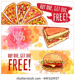 Three horizontal banners for fast food. Pizza, hamburger and sandwich. Vector template flayer isolated on a white background.