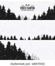 Three horizontal banners - Forest. Vintage style.
