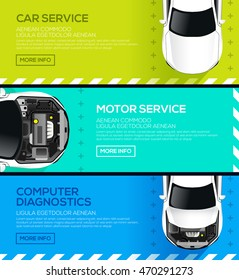 Three horizontal car service banners, repair and computer diagnostics auto. vector illustration
