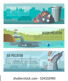 Three horizontal ecology banners set about different kinds of pollution with outdoor landscapes and editable text vector illustration