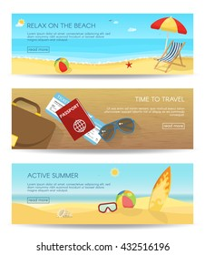 Three horizontal isolated flat summer banner set with descriptions of relax on the beach time to travel and active summer vector illustration