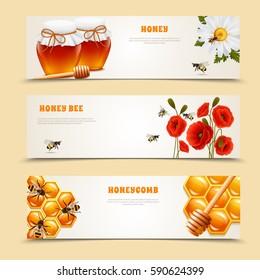Three horizontal isolated honey banner set with honey honey bee and honeycomb headlines vector illustration