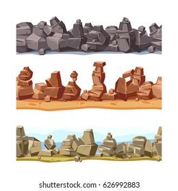 Three horizontal seamless rocky, mountains landscape for game user interface. Vector cartoon illustration set. Stump of stones landscape