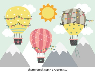 three Hot Air Balloon  fly over the mountains   - vector illustration, eps