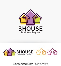 Three House, architecture, home, marketing, property, vector logo template