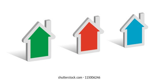 Three houses, 3D symbols with place for your text