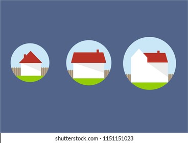 Three houses of different size - small, medium and big. Minimalistic illustration with icons