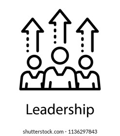 Three humans with different aptitude levels displayed by arrows on the head, icon for leadership
