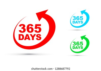 Three hundred and sixty five days a year icon set