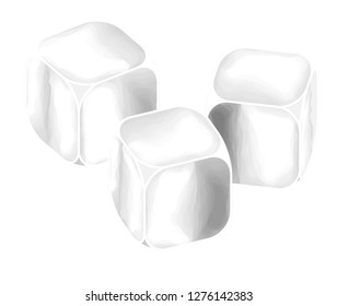 Three ice cubes in a row.