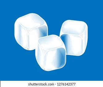 Three ice cubes in a row on a blue background.