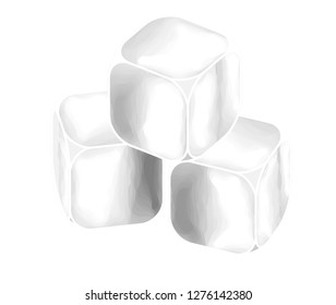 Three ice cubes stacked.