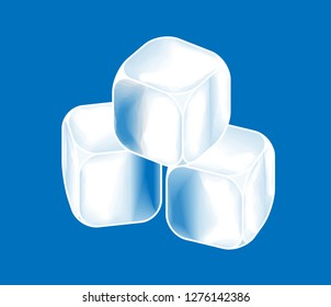 Three ice cubes stacked on a blue background.