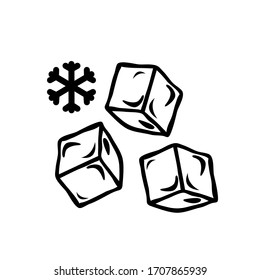 Three ice cubes vector icon on white background. Stock illustration
