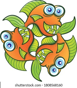 Three identical goldfish with blue bulging eyes, big fins and sharp teeth smiling while creating a pattern by rotating. Each goldfish is having fun by posing and biting the tail of the following one