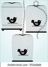 Three illustrated birdcage silhouettes in black
