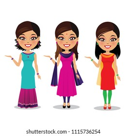 Three Indian women in different styles of salwar kameez/ Punjabi dress