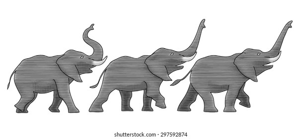 Three instances (keyframes) of an elephants' walk while trumpeting. They are (properly) positioned on top of each other as well as placed in a row here for visual clarity.