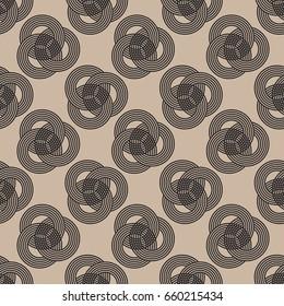 three interlocked striped rings seamless pattern in black