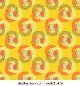 three interlocked striped rings seamless pattern in yellow