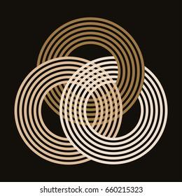 three interlocked striped rings symbol gold shades