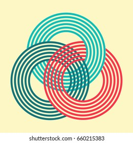 three interlocked striped rings symbol pattern in colors