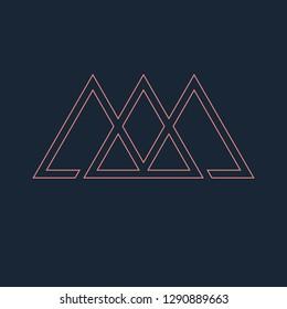 Three interlocked triangles, line design. Vector illustration