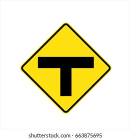 The three intersection traffic sign on white