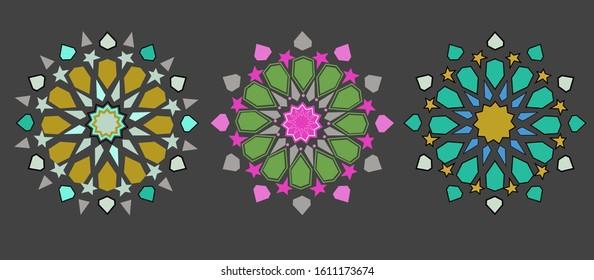 three isolated colorful Zellige elements. floral mandala. mediterranean Islamic texture. vector illustration