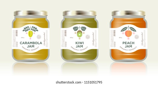 Three jars with labels fruit jam. Three jars mockup. Carambola or star fruit, kiwi, peach jam packaging. Premium design. The flat original illustrations on the minimalist labels.