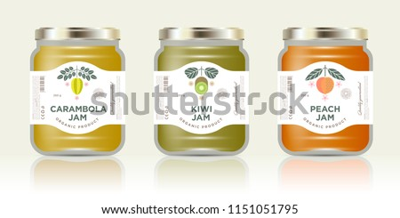 three jars labels fruit jam three stock vector royalty free