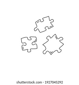 Three jigsaw hand drawn pieces, cartoon puzzle falling pieces, linear black and white icon, hand drawn sketch style. Stock Vector illustration isolated