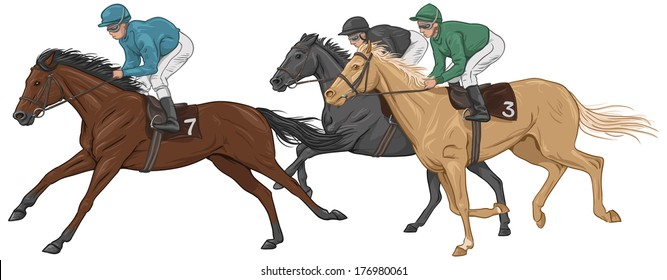 Three jockeys on their horses