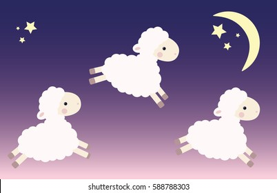 Three jumping lambs in the night sky with stars and moon. Vector illustration