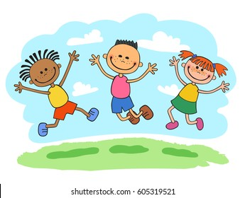 three kids boy and girls Jumping together on glade cartoon vector illustration