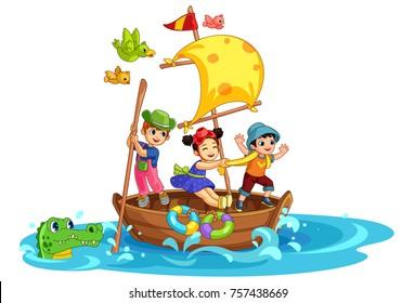 Three kids having fun on the boat beautiful vector illustration