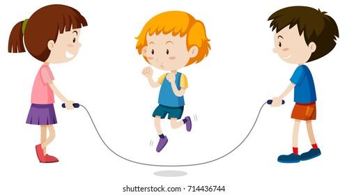 Three kids jumping rope illustration