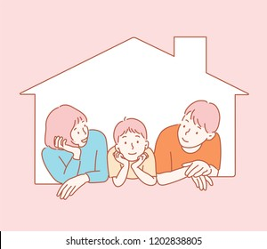 Three kids on the window of the house are looking at the front with their arms around. hand drawn style vector design illustrations.