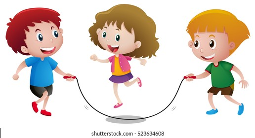 Three kids playing jump rope illustration