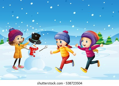 Three kids playing snowman in the snow field illustration