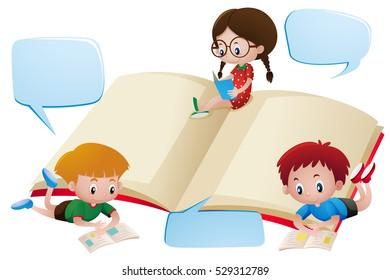 Three kids reading books illustration