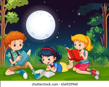 Three kids reading books at night in the park illustration
