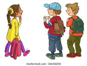 Three kids talking together. Back to School children illustration. Separate Objects on white background. Editorial. Education. VECTOR.