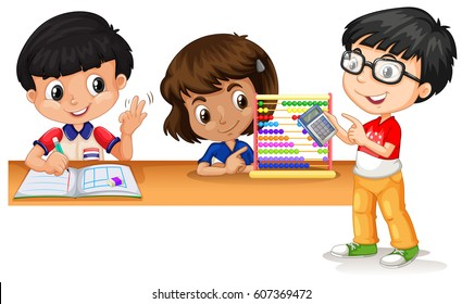 Three kids using gadgets to calculate math illustration