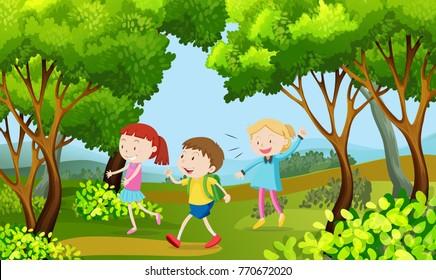 Three kids walking in the woods illustration