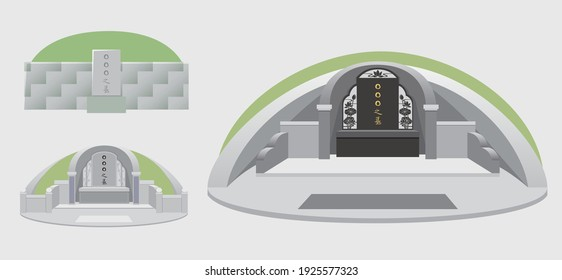 Three kinds of Chinese tomb vector Graphics. Chinese translation:Someone's tomb.