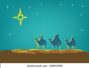 Three Kings follow the Star of Bethlehem doodle artwork vector