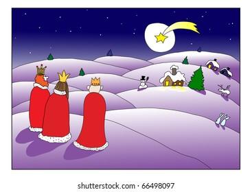 Three kings are going to Bethlehem - postcard design